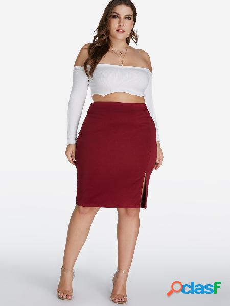 Falda minifalda de color burdeos con talla grande