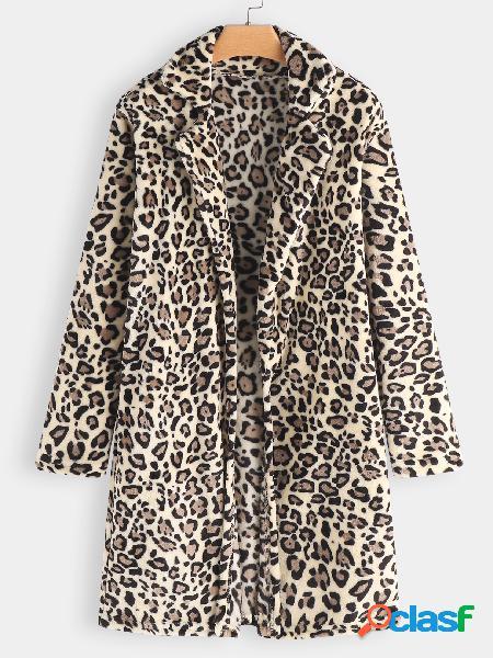 Leopardo beige cuello de solapa manga larga de piel