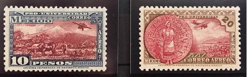 Mexico  Pro Universidad Serie Aerea $10 Y $20 Mint Nh Nv