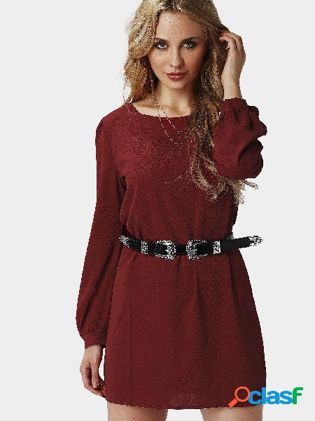 Moda Plain Burgundy Color Mini vestido con cierre de botón