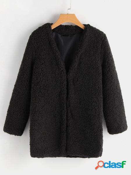 Moda negro manga larga abrigo de piel sintética