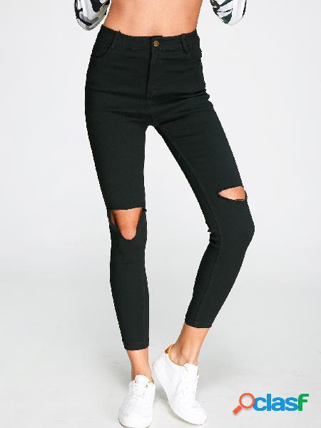 Negro recortar bolsillos laterales polainas de moda