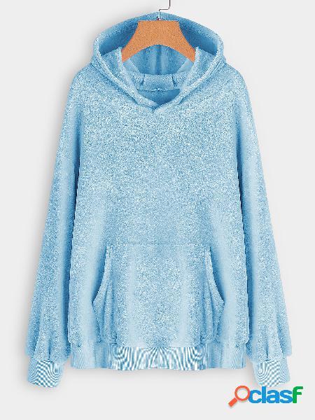 Sudadera con capucha de piel sintética azul talla grande