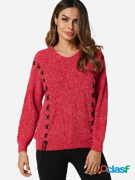 Suéter de manga larga con cuello en V y diseño de cordones