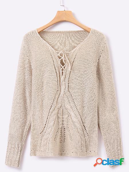 Suéter de manga larga con diseño de cordones beige de