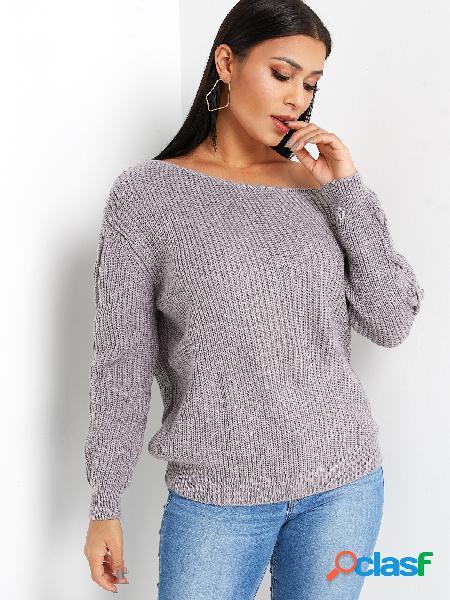 Suéter de punto con mangas largas con diseño de cordones