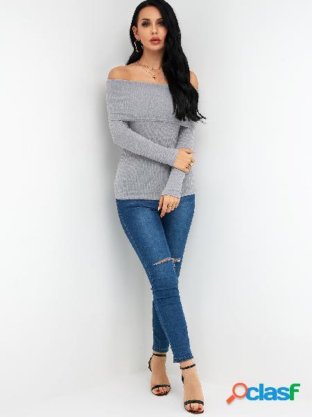Suéter hecho punto de moda gris fuera del hombro Bodycon