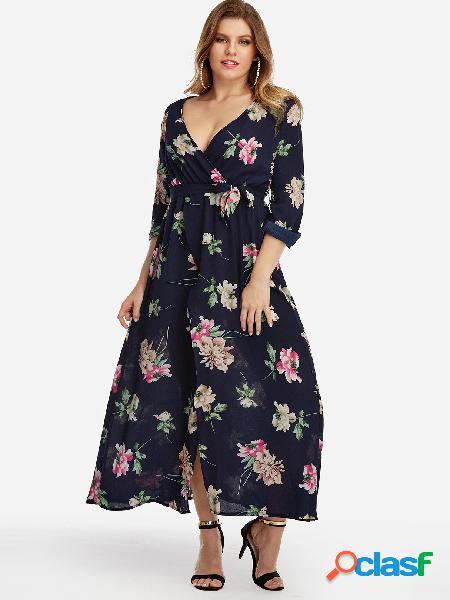 Vestido largo con cuello en V y estampado floral con