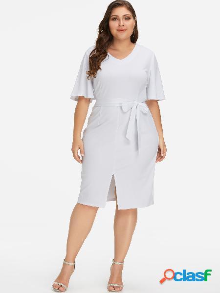 Vestido largo con dobladillo dividido en blanco de talla