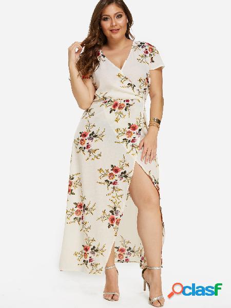 Vestido largo con estampado floral y hendidura
