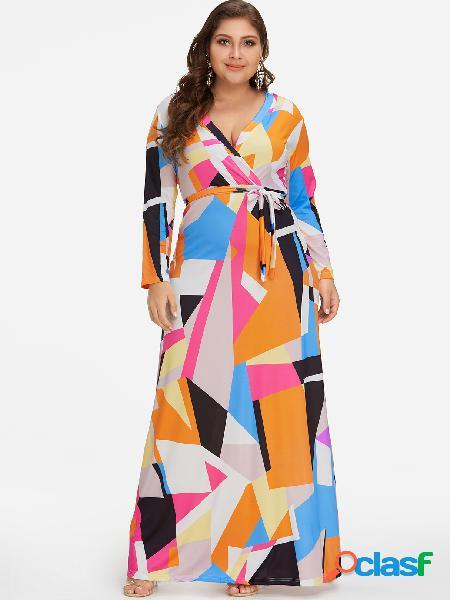 Vestido largo con estampado geométrico y estampado extra
