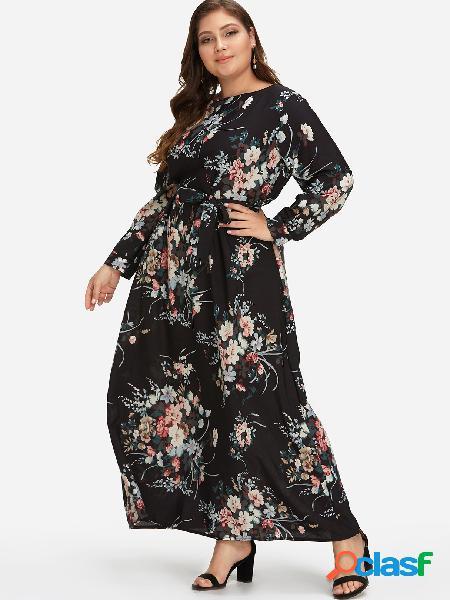 Vestido largo maxi estampado floral negro talla grande