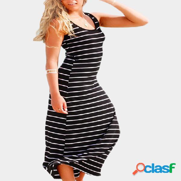 Vestido largo rayado negro y blanco
