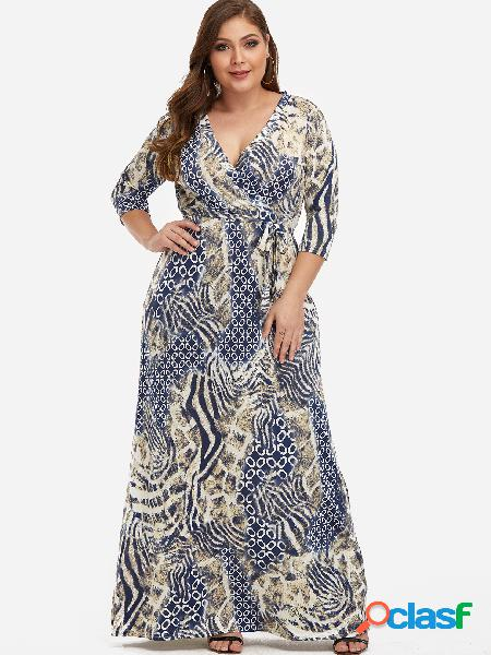 Vestido maxi con diseño de lazo y estampado floral