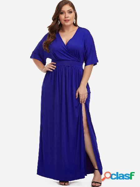 Vestido maxi de talla grande con diseño de abertura azul