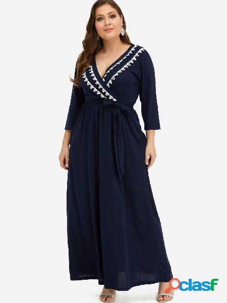 Vestido maxi de talla grande con diseño de bolsillo azul