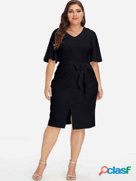Vestido midi de talla grande con diseño de lazo propio en