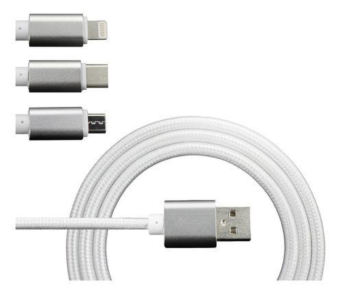 3 En 1 Cable Cargar Rápido Dato Micro Usb Type-c 1.2m 1pack