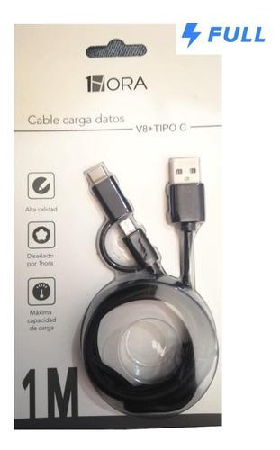 Cable Usb A V8 Microusb + Tipo C 2.1amp Carga Y Datos Oferta