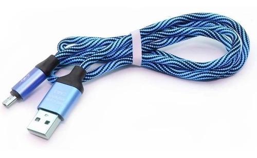 Cable V8 Oem, Nailon, Puntas Metalicas, 90cm Azul
