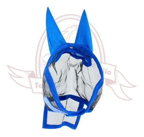Mascara Repelente De Moscos Con Orejas Azul Para Caballo