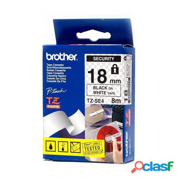 Cinta Brother TZ-SE4 Negro sobre Blanco, 18mm x 8m