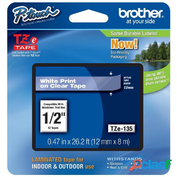 Cinta Brother TZES135 Blanco sobre Transparente, 12mm x 8m