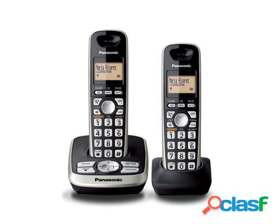 Panasonic Teléfono DECT 6.0 KX-TG4272MEB, Inalámbrico,