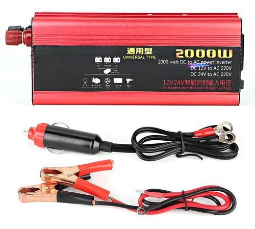 2000w 1usb Coche Inversor De Energía Convertidor Cargador