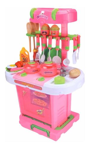 Cocina Cocinita Infantil 3 En 1 Maleta Luz Sonido Mide 65 Cm