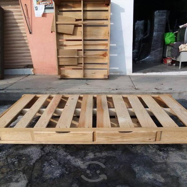 2 bases de madera individuales con cajones