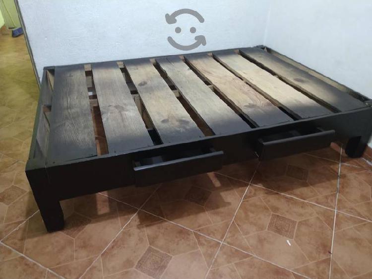BASE DE CAMA MATRIMONIAL CHOCOLATE, CAJONES