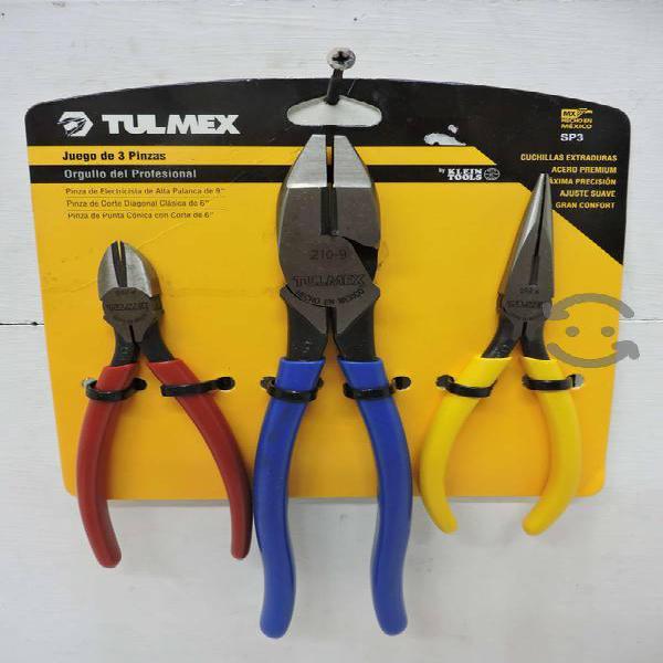 Juego de 3 pinzas para electricista Tulmex SP3