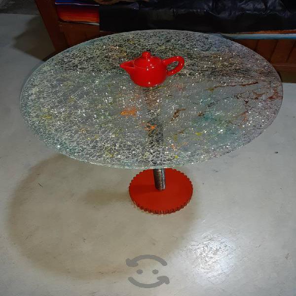 mesa de vidrio con base de engrane
