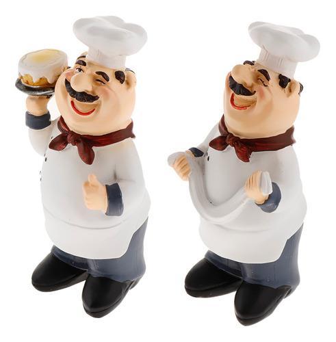 2 Piezas De Figuras De Chef Italiano Escultura De Chef Para