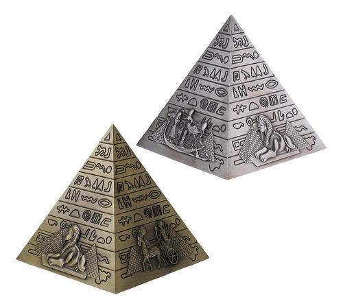 2 Piezas De Metal Artesanía Pirámides Egipcias Modelo De