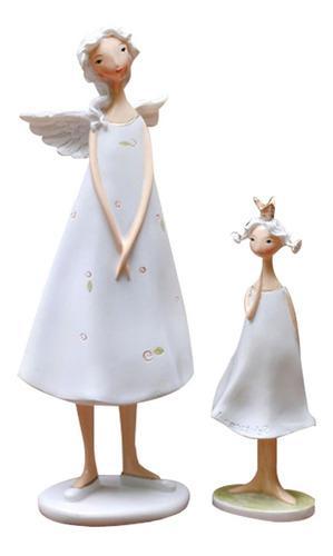 2pcs Ángeles Creativos Madre E Hija Estatuilla Escultura