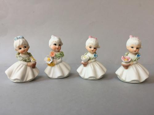 4 Figuras De Porcelana Fina China Napco Jovenes Con Flores