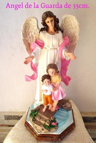 Angel De La Guarda Fina Figura De Resina Pintada A Mano.
