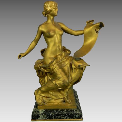 Antigua Figura Bronce Dorado Georges Bareau La Poesía