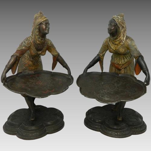 Antiguo Par Estatuas Figuras Estilo Bergmann Orientalistas