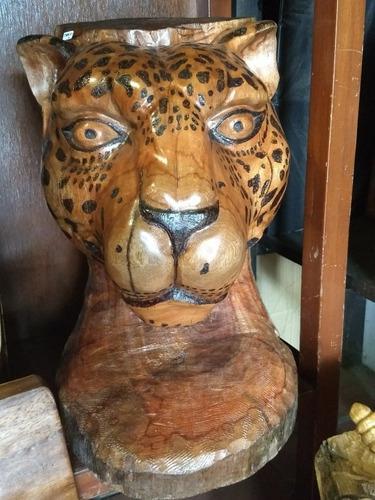 Escultura De Cabeza De Jaguar En Cedro, Hecho A Mano