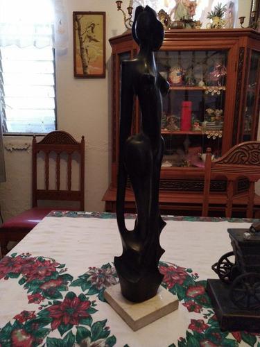 Escultura Estilo Art Decó Antigua De Madera De Ébano