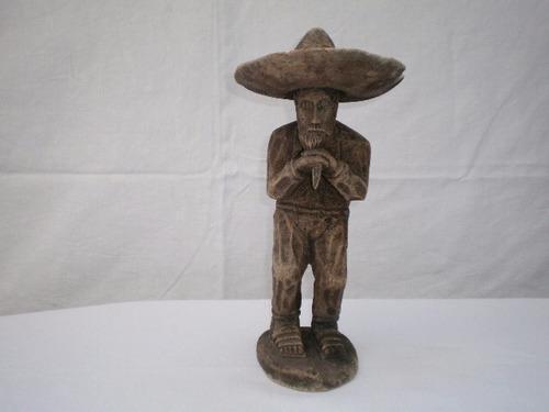 Figura Antigua De Charro Viejo Tallada En Madera Años 20s