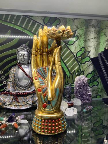 Figura Mano De Buda Con Flor De Loto, Feng Shu Portavela