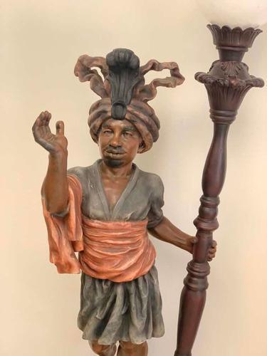 Torchero Africano, Lámpara De Pie Escultura Con Faro