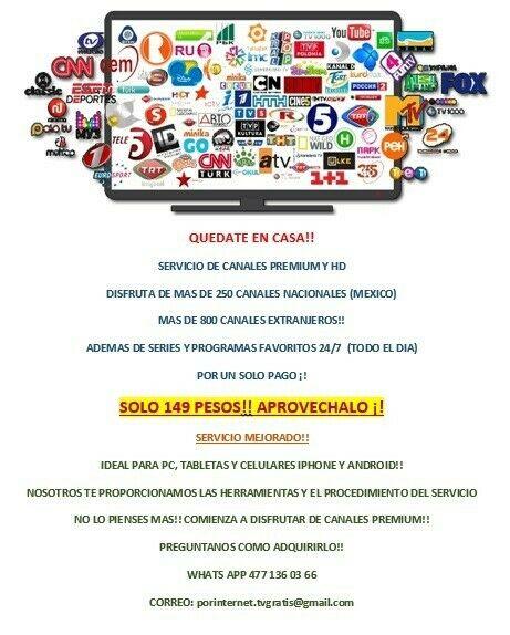 Un Solo Pago!! Mas De 250 Canales (Mexico) Y Mas!!