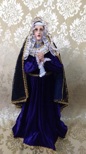 Virgen De La Dolorosa De 90 Cm Fibra De Vidrio Con Vestido