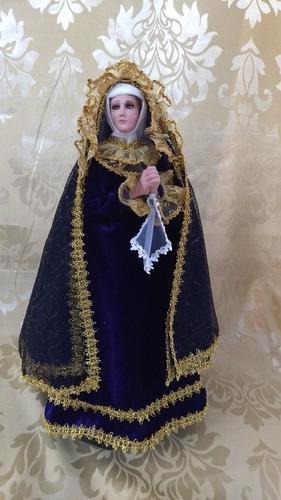 Virgen Dolorosa De 50 Cm De Resina Ojos De Cristal Vestir