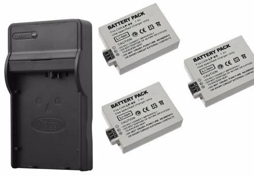 Kit De 1 Cargador Y 3 Baterias Para Canon Lp-e5 Xsi 450d